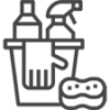 icon cleaning bottle and spray in bucket with glove and sponge